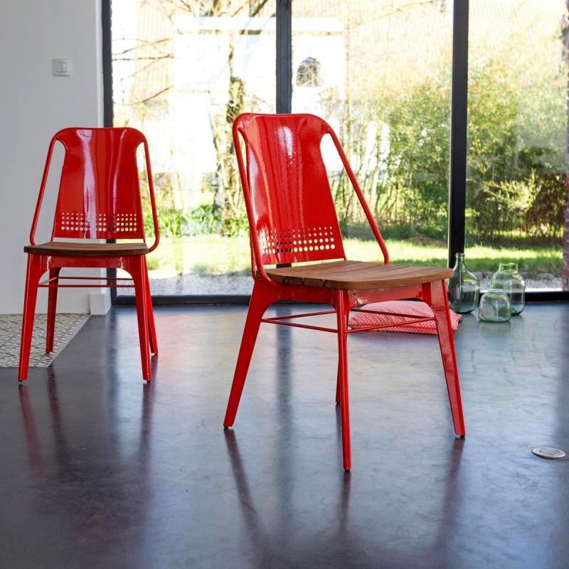 Chaise en m+®tal rouge et teck Toscane-Ref2307266-Prix299euros