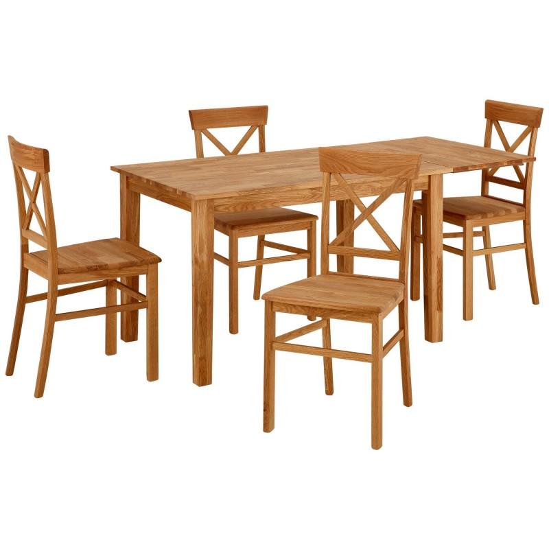 Ensemble table rectangulaire + allonge 6 +á 8 personnes + 4 chaises en bois massif-Ref2369777-Prix889euros